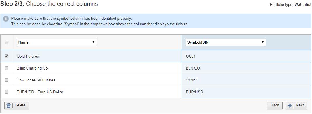 Import Portfolio Watchlist Investing Support